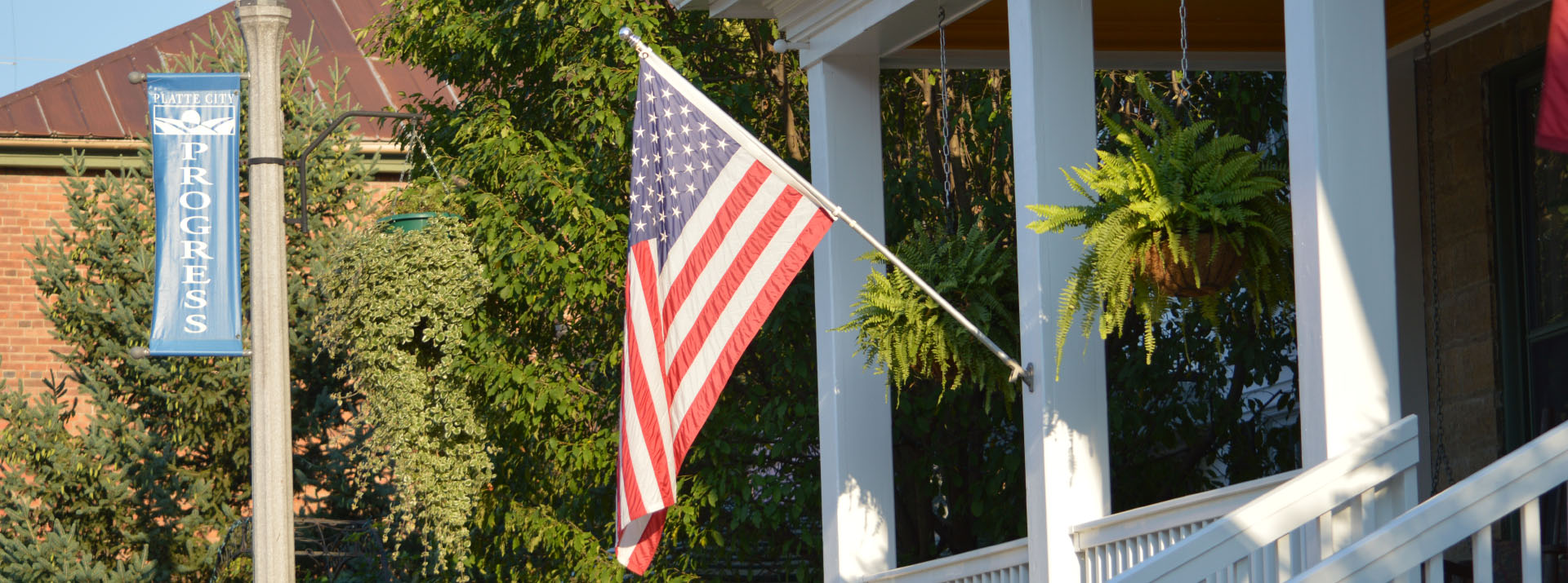 American flag on a porch